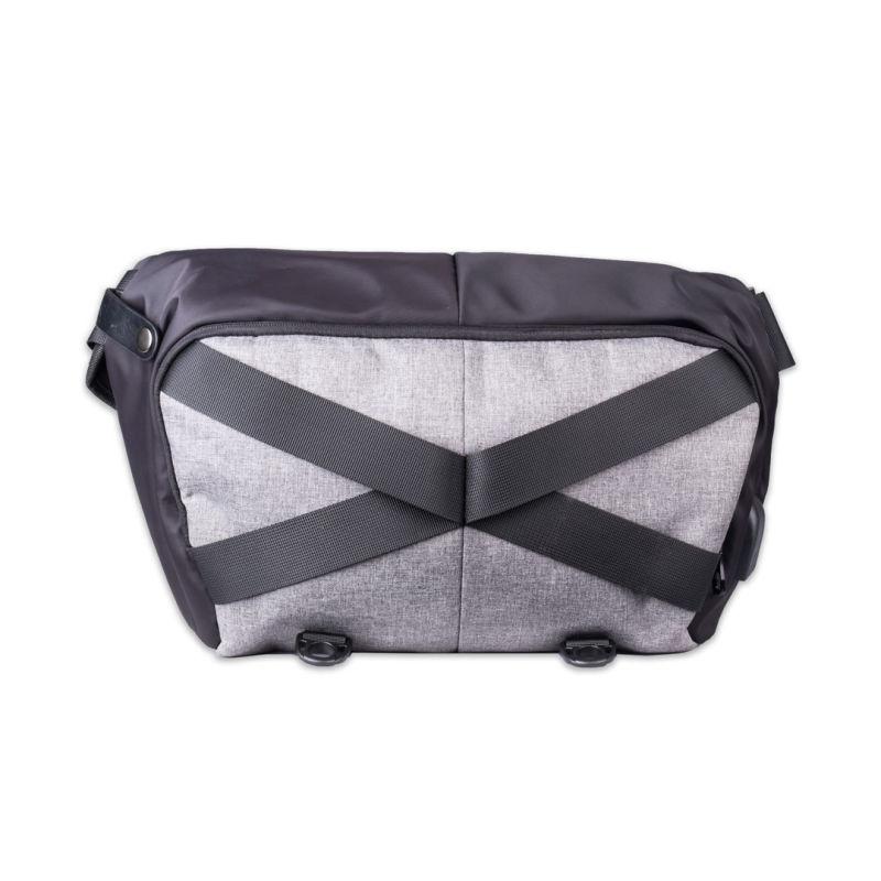 Scarters Cross-Body Sling Bag with USB Hub & Cord ~ Black & Grey
