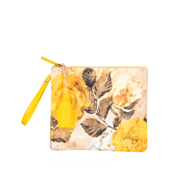 YELLOW VINTAGE FLORAL CANVAS POUCH