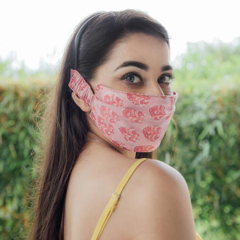 Designer Pink Butti Mask