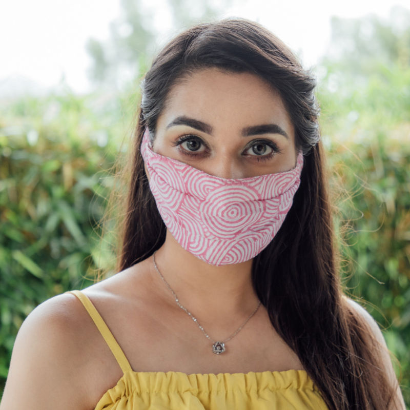 Circular Print Pink Mask