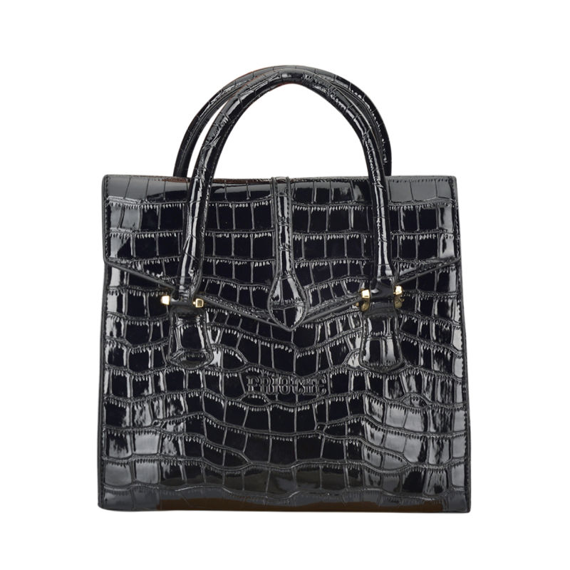 Alligator Pattern Satchel - Black