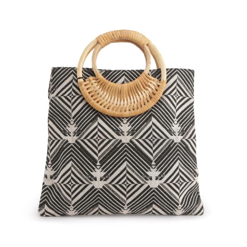 IMARS Wooden Top Handle Handbag - Black-white-Beige