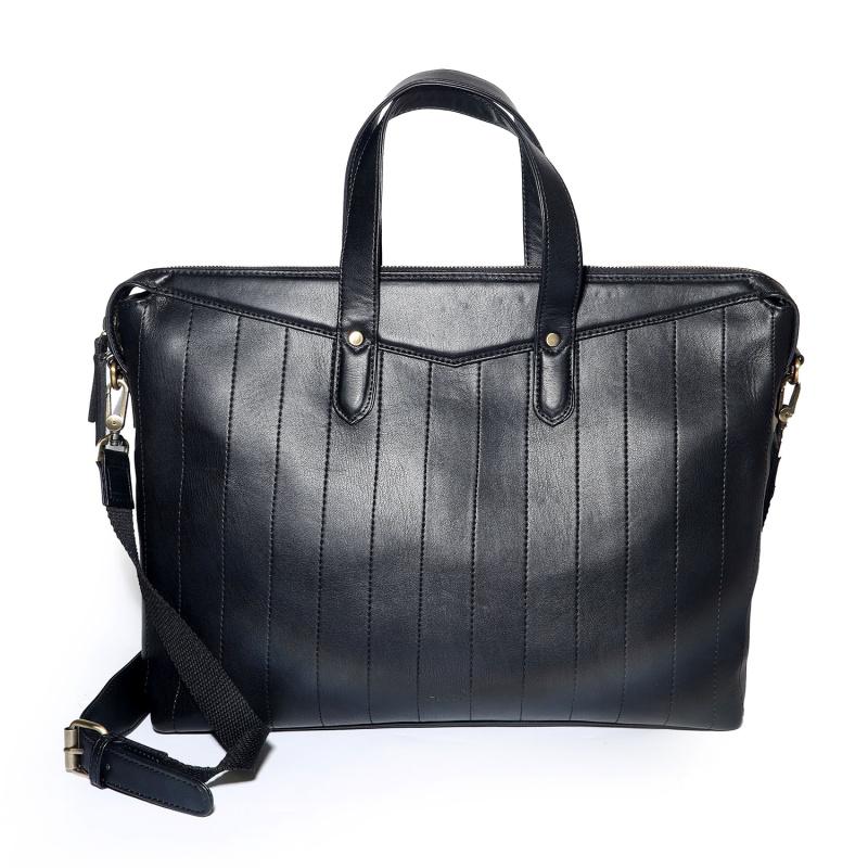 Quilted Messenger Bag - Black