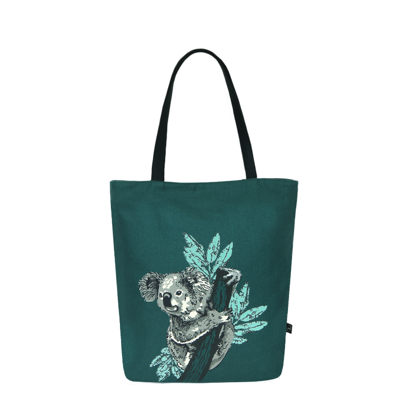 EcoRight Canvas Tote Bag with Vegan Handles : Iconic Koala