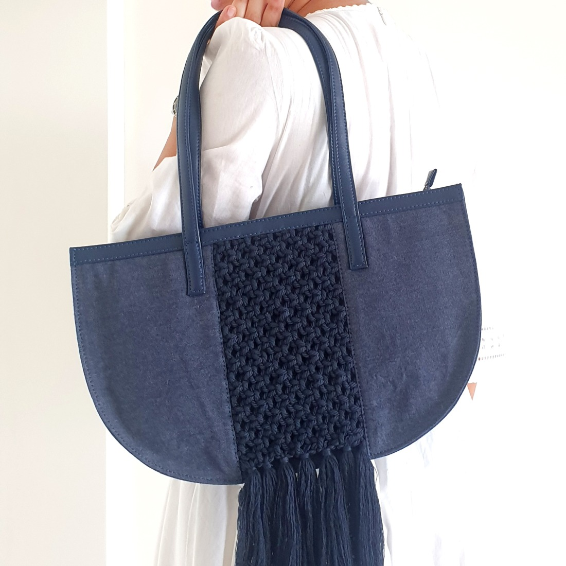 Handbag with Macrame Details - Denim Blue